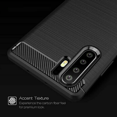 For Huawei P30 / Pro Lite Nova 5T Carbon Fibre TPU Armour Cover Heavy Duty Case