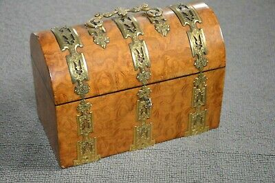 Vintage French Burr Yew Domed Document Box with Ornate External Fittings.