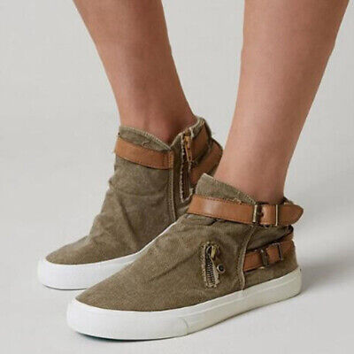 Women Canvas Ankle Boots Flat Buckle Breathable Loafers Round Toe Casual