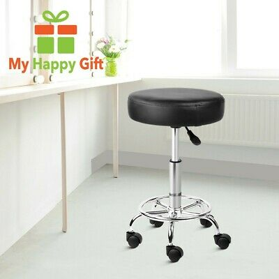 BLACK Round PU Leather Swivel Salon Stool Height Adjustable with Footrest NEW