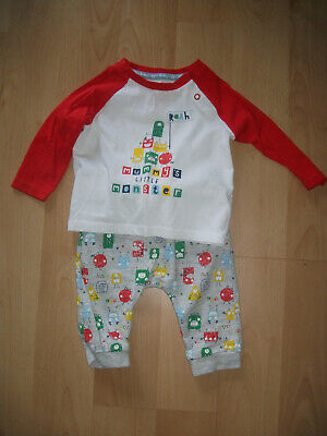**Boys TU T Shirt & Joggers Red & Grey monsters Age 3- 6 months Great Condition*