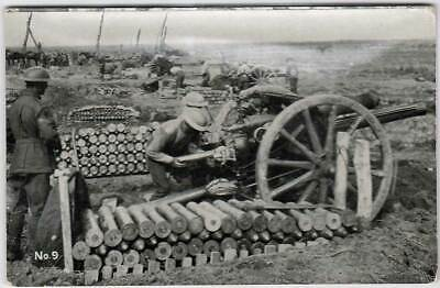 VINTAGE WW1 Official ACF AUSTRALIA PHOTO POSTCARD No 9 18lb battery in action