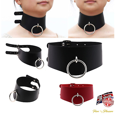 Ladies Vegan Faux Leather Choker Collar with 'O' Ring, BDSM Bondage Style.