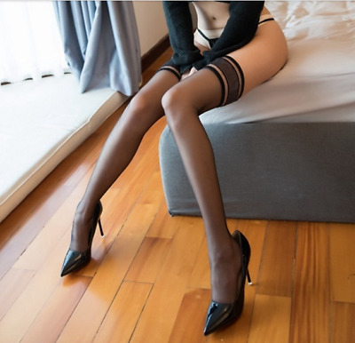Women 5D Shiny Glossy High Stockings Lace Silicone Stay Up Thigh-Highs Hosiery