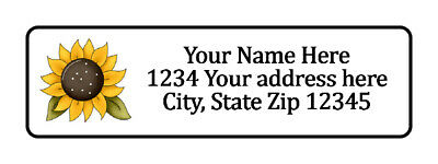 800 Big Sunflower Personalized Return Address Labels. 1/2 inch by 1 3/4 inch