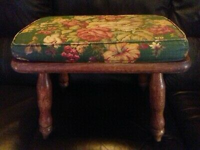 Lovely Vintage Ash Stool With Cushion