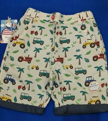 Frugi Reuben Tractor Farm/Denim Reversible Shorts Organic Cotton Age 6-7 BNEW