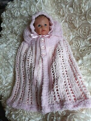 Hand Knitted Baby Outfit / Baby  Shawl / Baby Carry  Cape Set / Reborn Dolls Set