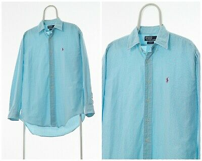 90s Vintage Mens POLO RALPH LAUREN Shirt Long Sleeve Checked Blue White Size XL
