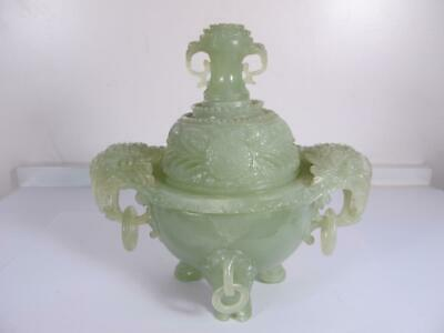"""Antique Hindustan Chinese Carved Jade Incense Censer Burner 7"""" Inches"""