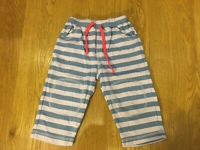 Frugi 12-8 months  Blue/LightPink Striped Elasticated Trousers Organic Cotton