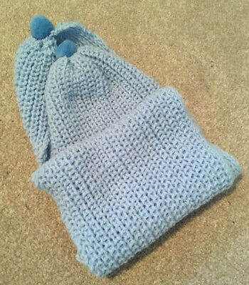 Hand Knitted Baby Blue Baby Scarf With Pom Poms - Luxury Wool