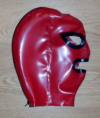 Latex Rubber Quality Open Eyes & Mouth Hood in RED Rear zip  S - XL Brand New