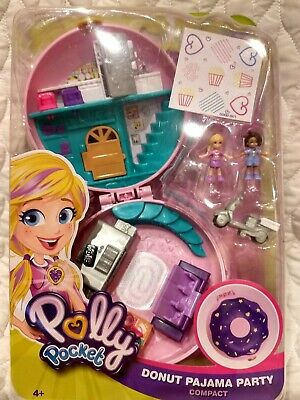 New!! Polly Pocket Compact Donut Pajama Party Playset