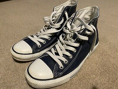 Unisex Converse All Star Blue Leather Hi Top Trainers Size 7