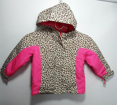 The Childrens PLACE 3TJacket Hoodie Toddler Girls Animal Leopard Print  Zip Pink