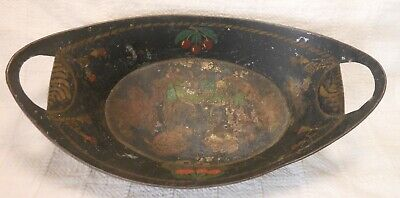 Good American Antique Toleware Tin Apple Tray, Open Handles Paint Decorated