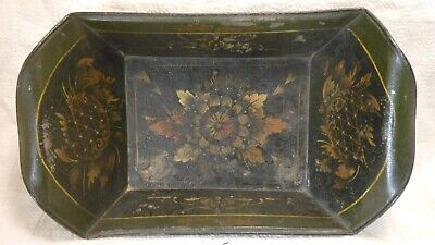 Good American Antique Toleware Tin Bread Tray,  Paint Decorated Urns