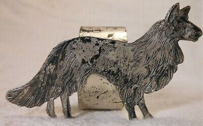 Nice Figural Collie Dog Figural Silver Plate Napkin Ring P&B E.P.N.S.