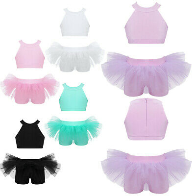 Kids Girls Ballet Dance Outfit Crop Top+Ruffled Bottoms Outfit Stage Performance