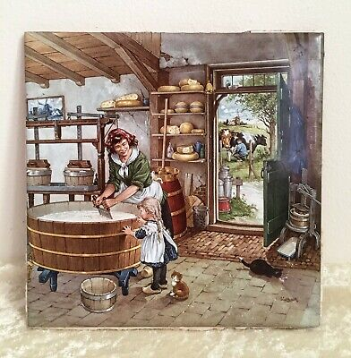 Old Dutch Tile Hand decorated by Ter Steege BV Rural Family Scene Delft