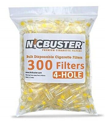 NICBUSTER 4 Hole Disposable Cigarette Filters - Bulk Economy Pack (300 Filters)