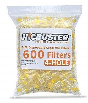 NICBUSTER 4 Hole Disposable Cigarette Filters - Bulk Economy Pack (600 Filters)