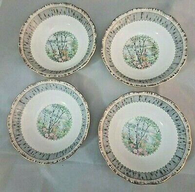 Set of 4 Royal Albert Silver Birch Bone China Round Cereal Bowl Small Centre