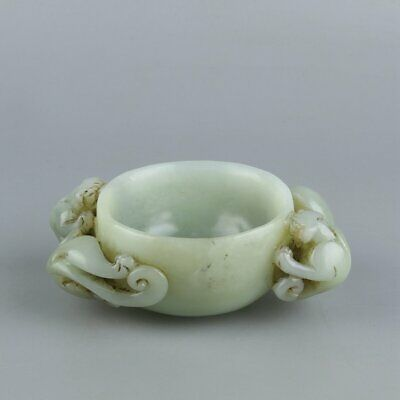 Chinese Exquisite Hand carved Hetian jade cup