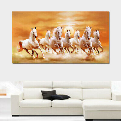 Canvas Painting Oil Painting Seven Horses Running Prints Wall Posters,US Stock