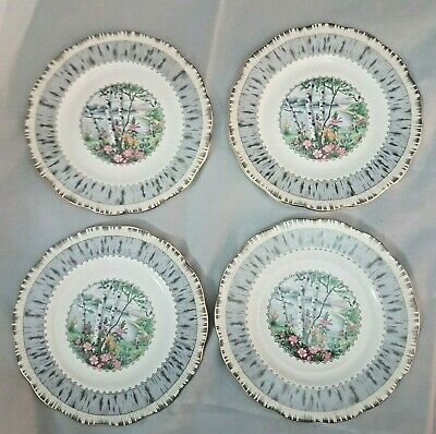 Set of 4 Royal Albert Silver Birch Bread and Butter Plate replacement Vintage