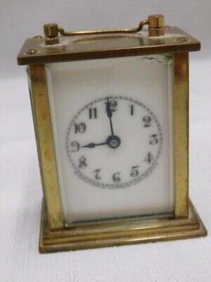 Antique Miniature Waterbury Carriage Clock - Brass and Beveled Glass