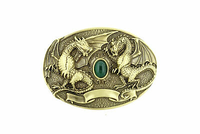 Twin Dragons with Green Stone Oval Solid Brass Metal Belt Buckle
