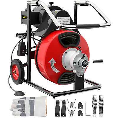 "100' x 1/2"" Drain Cleaner 550W Drain Pipe Snake Auger Cleaning Machine W/Cutter"