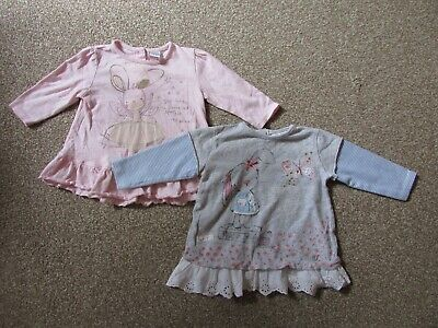2 x Next baby girls 3-6 months bunny rabbits long sleeved top / shirt - VGC