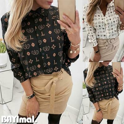 Women Floral Button Long Sleeve Shirts Ladies Casual Office Loose Blouse Tops UK