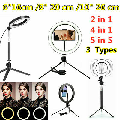 "6""-10"" inch Dimmable LED Ring Light Tripod Stand Selfie Mini Circle Lamp Make Up"