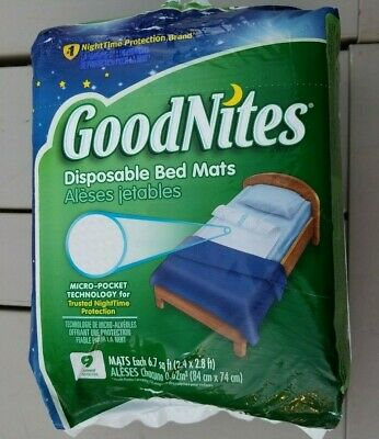 GoodNites Disposable Bed Mats, 9 Count NightTime Protection Super Absorbent Core