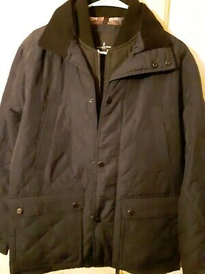 NEW London Fog Diamond Quilted Navy BlueJacket Corduroy Collar Lining Mens Small