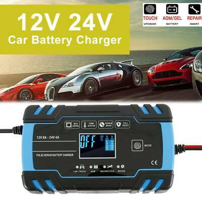 8 Amp Intelligent Car Charger Battery  Pulse Repair Starter 12V/24V AGM/GEL