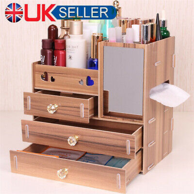 Wooden Makeup Case Cosmetic Organiser Boxes Mirror Cabinet Drawer Boxes Storage