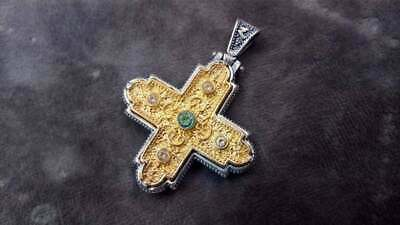 Sterling Silver 925 Handmade Byzantine Cross 30x30mm Gold Plated 22K Mid-Century