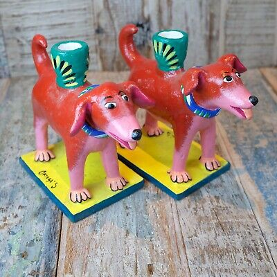 Pair of Mexican Ceramic Dog Candle Holders Rojo