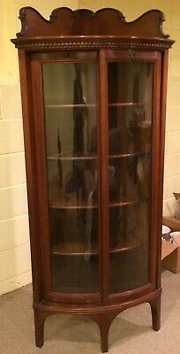 Antique Victorian Wood Corner Curved Glass China Curio Cabinet