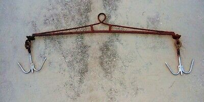 Antique Hand Forged Iron Hunters/butcher Double Hook Rack