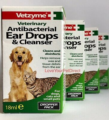 Vetzyme Dog Cat Ear Drops and Antibacterial Cleanser Helps Remove Dog Cat Wax
