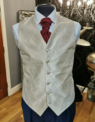 W - 1207.Mens And Boys Pale Gold And Diamond Waistcoat Wedding/ Dress/ Formal
