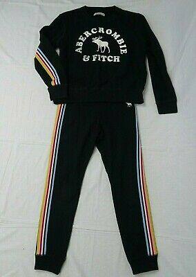 Girls Abercrombie & Fitch black tracksuit joggers sweatshirt age 11-12 years