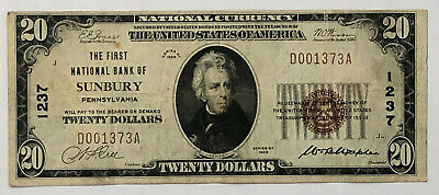 1929 $20 1st National Bank Of Sunbury PA #1237 Currency Note No Holes Estatefind