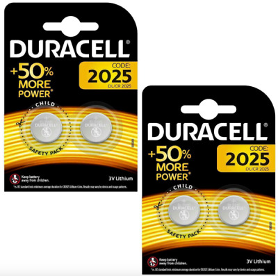 4 x Duracell CR2025 3V Lithium Coin Cell Battery 2025 DL/BR2025  Expiry 2027